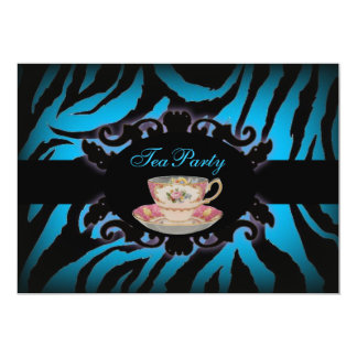 Sophisticated turquoise Zebra bridal tea party Card
