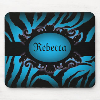 Sophisticated turquoise Zebra Print monogram Mouse Pad