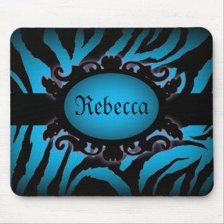 Sophisticated turquoise Zebra Print monogram Mouse Pad