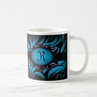 Sophisticated turquoise Zebra Print monogram Classic White Coffee Mug
