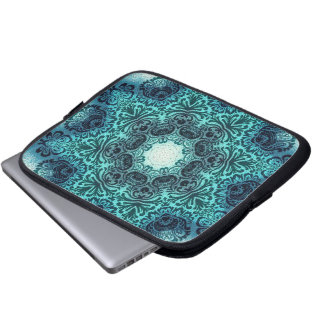 sophisticated vintage bohemian pattern teal lace laptop computer sleeve