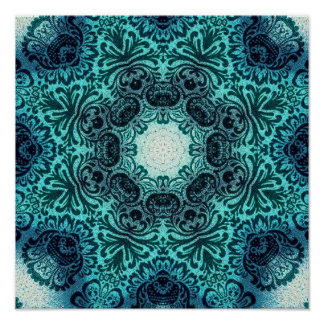 sophisticated vintage bohemian pattern teal lace poster