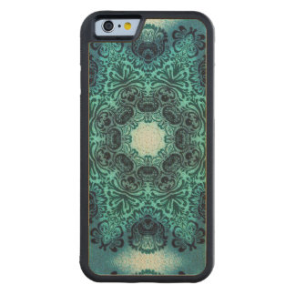 sophisticated vintage bohemian pattern teal lace carved® maple iPhone 6 bumper