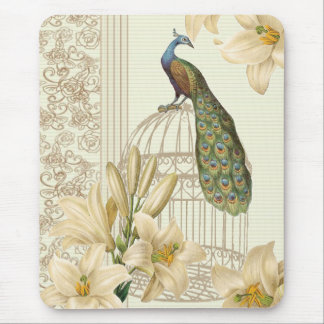 Sophisticated vintage lily birdcage Peacock Mouse Pad