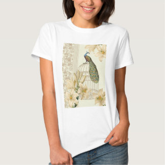 Sophisticated vintage lily birdcage Peacock T-shirt
