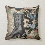 Sophisticated Vintage Paris lace shoe butterfly Pillow
