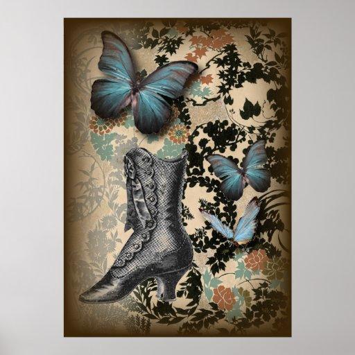 Sophisticated Vintage Paris lace shoe butterfly Poster