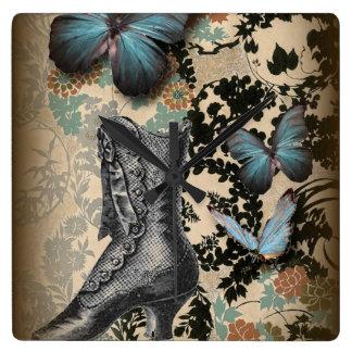 Sophisticated Vintage Paris lace shoe butterfly Square Wallclock