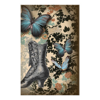 Sophisticated Vintage Paris lace shoe butterfly Stationery
