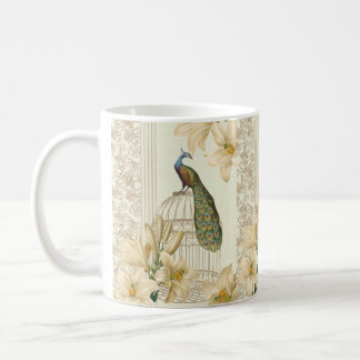 Sophisticated vintage Peacock & Cage Lily Classic White Coffee Mug