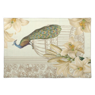 Sophisticated vintage Peacock & Cage Lily placemat