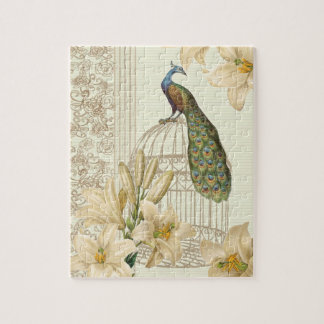 Sophisticated vintage Peacock & Cage Lily puzzles