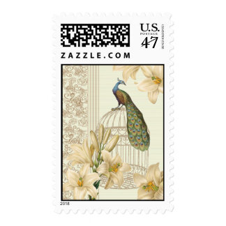 Sophisticated vintage Peacock & Cage Lily  stamps