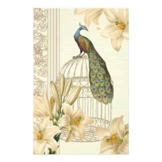 Sophisticated vintage Peacock Cage Lily Stationery