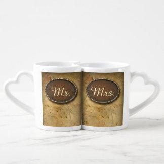 Sophisticated vintage western country wedding coffee mug set
