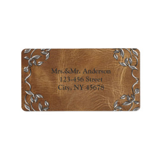 Sophisticated Western Leather Address Labels