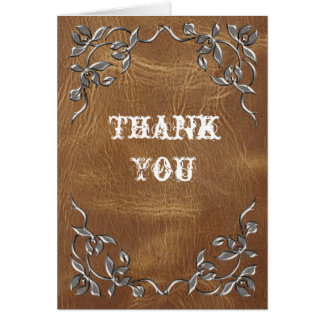 Sophisticated Western Leather Wedding Greeting Cards