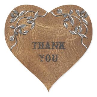 Sophisticated Western Leather Wedding Heart Sticker