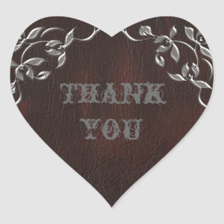 Sophisticated Western Leather Wedding Heart Sticker
