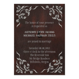 Sophisticated Western Leather  Wedding invitation