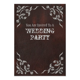"Sophisticated Western Leather Wedding invitation 5"" X 7"" Invitation Card"