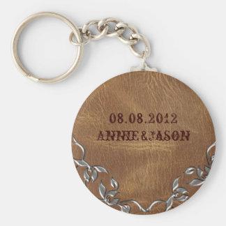 Sophisticated Western Leather Wedding Keychain