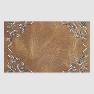 Sophisticated Western Leather Wedding Rectangular Sticker