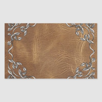 Sophisticated Western Leather Wedding Rectangular Sticker