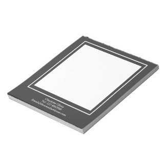 Sophisticated White Block On Grey Personalized Notepad