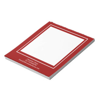 Sophisticated White Block On Red Personalized Notepad