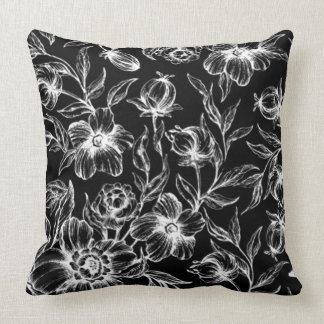 Sophisticated White Stylized Hibiscus on Black Pillow