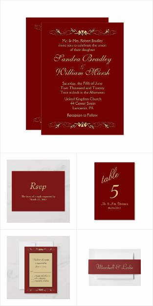 Sophistication Burgundy Wedding Invitation Suite