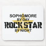 Sophomore Rock Star by Night Mouse Pads