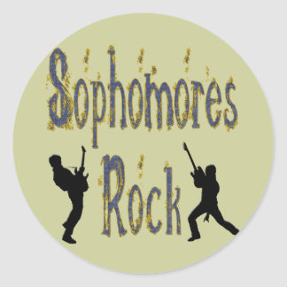 Sophomores Rock - Guitar Players Round Stickers