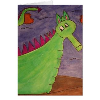 Sopla el dragón mágico - acuarelas tarjeta pequeña