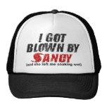 Soplado por Sandy apenó el gorra de Sandy del hura