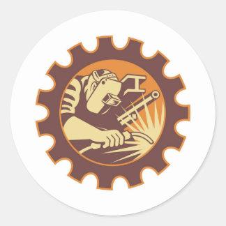 Soplete del trabajador del soldador retro pegatinas redondas