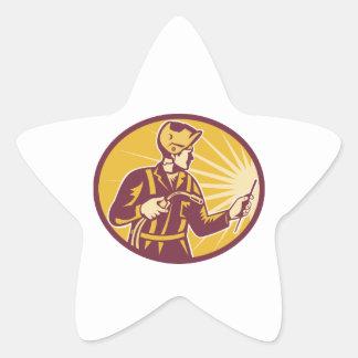 Soplete del trabajador del soldador retro colcomanias forma de estrellaes
