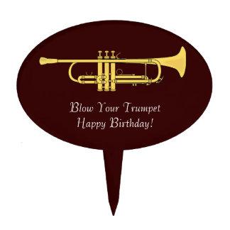 Soplo del cumpleaños de la música de la trompeta d figura para tarta