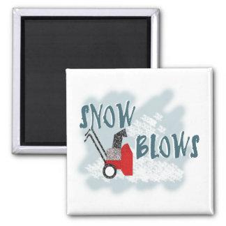 Soplos de la nieve imán cuadrado