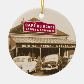 Soporte 1950 del café del barrio francés adorno redondo de cerámica