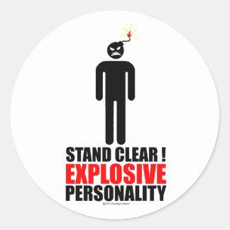 ¡Soporte claro! personalidad explosiva Etiqueta Redonda