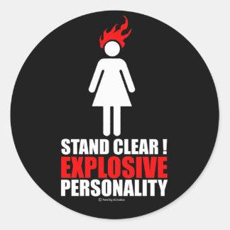 ¡Soporte claro! personalidad explosiva Etiquetas Redondas