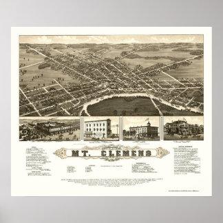 Soporte Clemens, mapa panorámico del MI - 1882 Impresiones