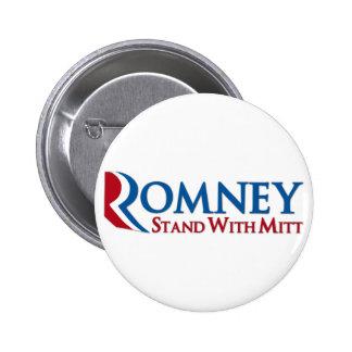 Soporte con el botón de Mitt Romney Pin