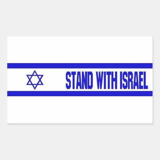 Soporte con Israel Pegatina Rectangular