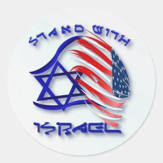 Soporte con Israel - pegatinas indicados con Pegatinas Redondas