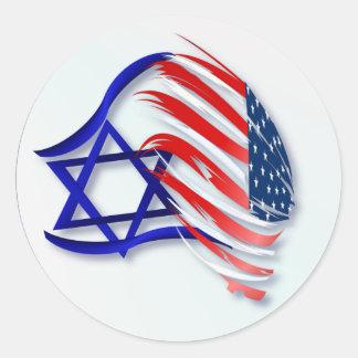 Soporte con los pegatinas de Israel Pegatina Redonda