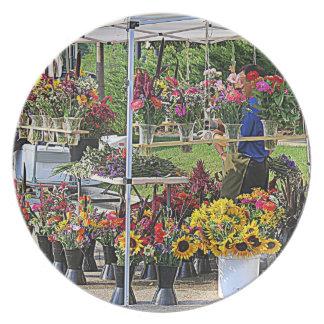 Soporte de flor floral plato