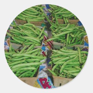 Soporte de la granja de la haba verde pegatina redonda
